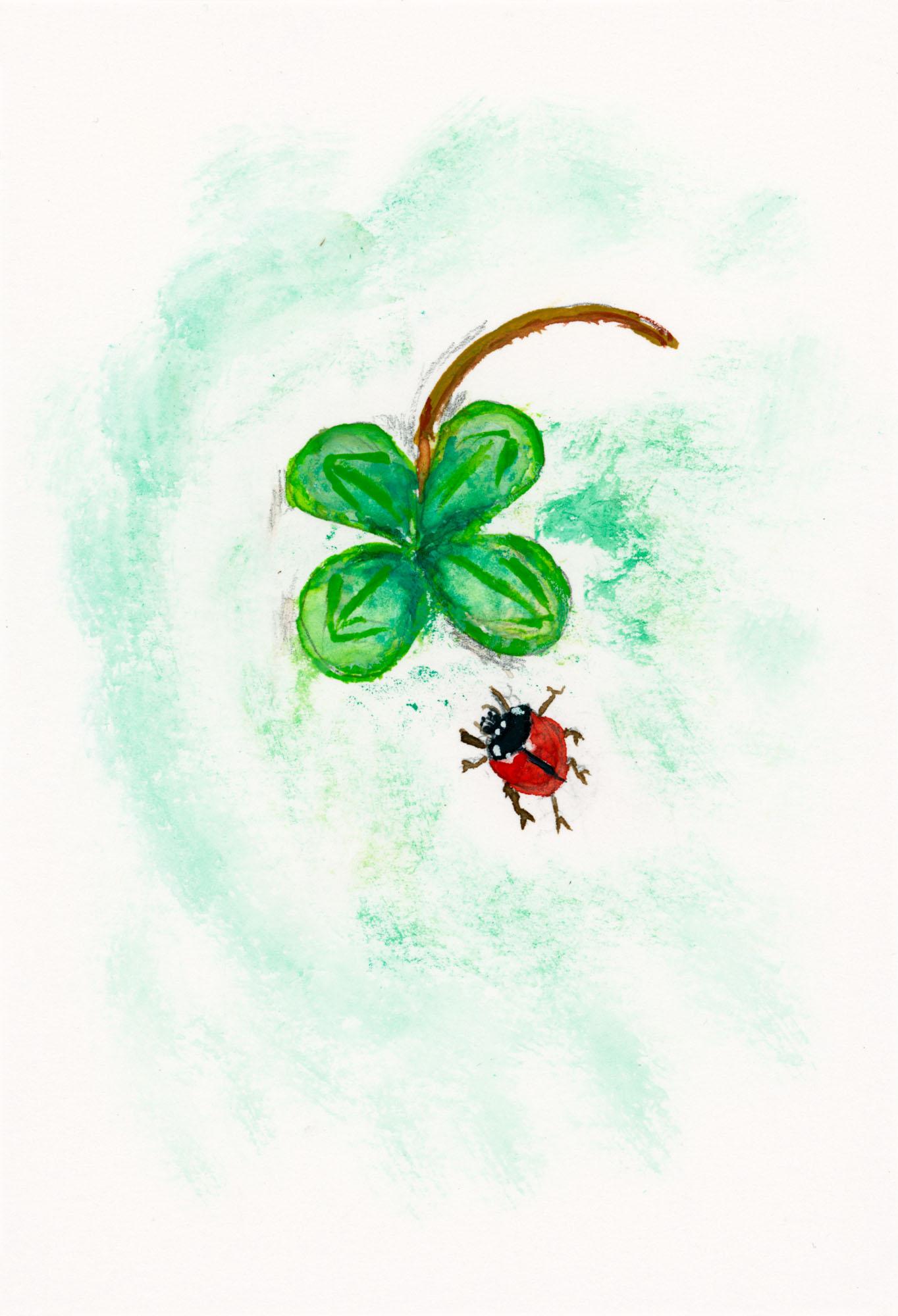 Glücksklee mit Käferchen